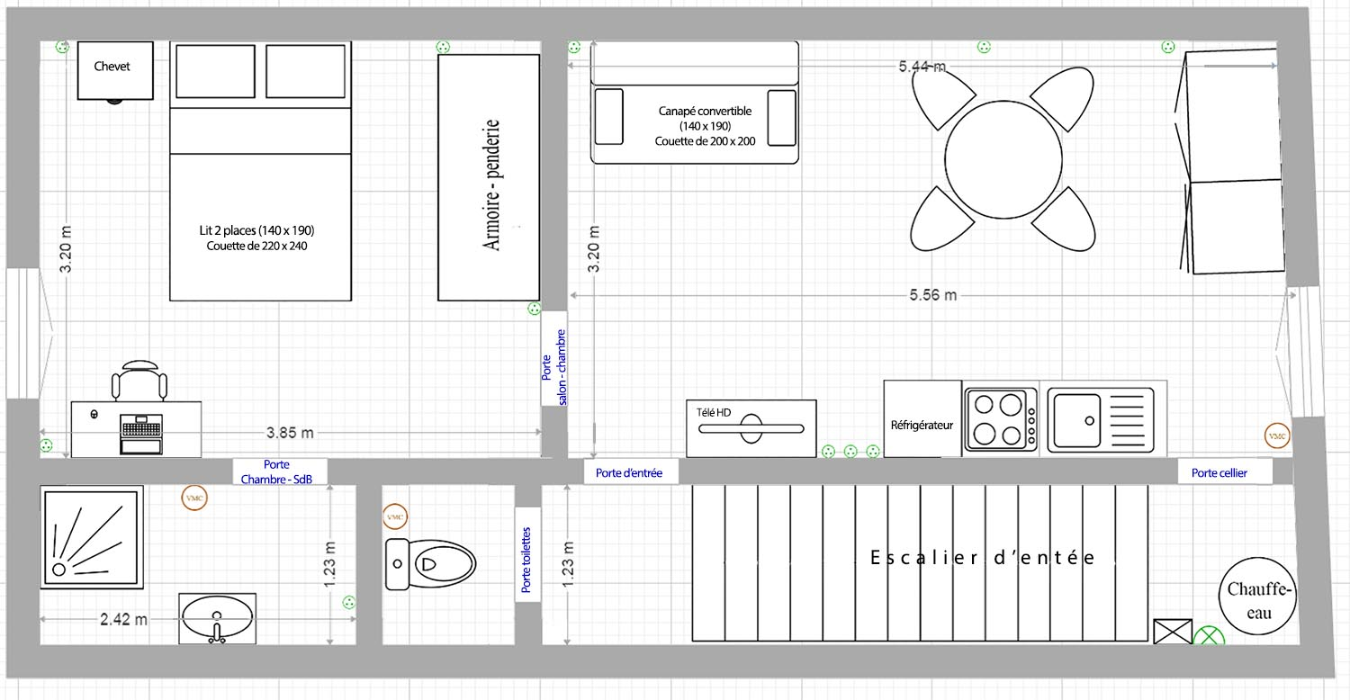 Plan des pi ces de l 39 appartement location loctudy bord for Plan appartement