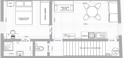 Plan des pièces de l'appartement location loctudy