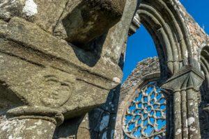 Chapelle de Languidou visage sur chapiteau